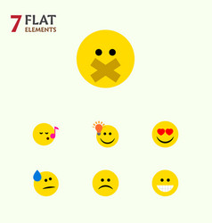Flat icon emoji set of hush tears grin and other vector