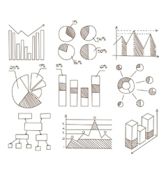 Graphs Charts and Diagrams Hand Drawn Business vector image vector image