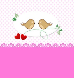 Greeting card with birds and hearts vector image vector image