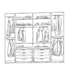 Hand drawn wardrobe sketch Interior with clothes vector image vector image