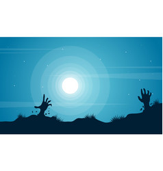 hand zombie scenery halloween background vector image vector image