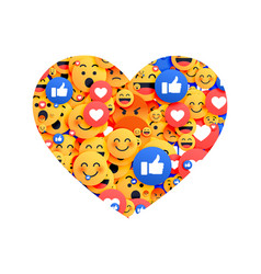 Heart made with social media emoji icons vector