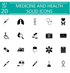 Medicine and health solid icon set medical symbols vector