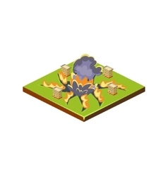 Meteorite natural disaster icon vector