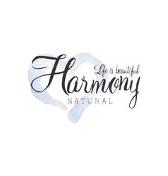 Natural harmony beauty promo sign vector