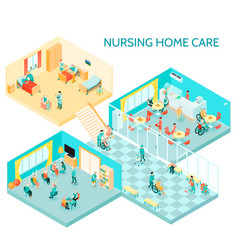 nursing home care isometric composition vector image