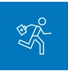 Paramedic running with first aid kit line icon vector image vector image