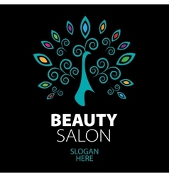 peacock logo for beauty salon vector image vector image