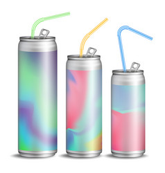 realistic metallic can soft energy drink vector image