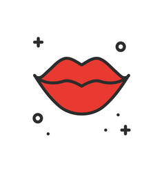 red lips kiss line icon woman lips contour sign vector image