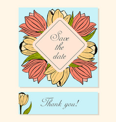 Set of cards with tulip floral motifs vector