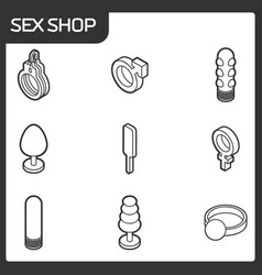 sex shop outline isometric icons vector image