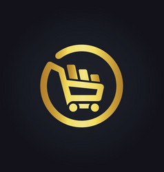 Shopping cart basket buy online gold logo vector