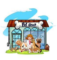 Vet and many pets at pet shop vector