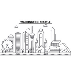 Washington seattle architecture line skyline vector
