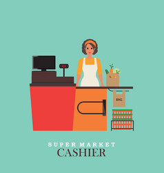 woman cashier smiles and standing in supermarket vector image vector image