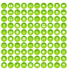 100 time icons set green circle vector image vector image