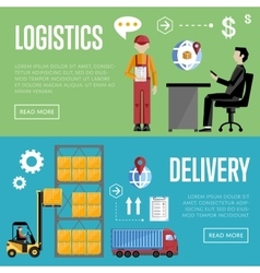 Delivery and logistic banner set vector