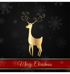 Black Christmas postcard whit christmas deer vector image
