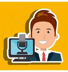 Man cartoon speak microphone vector