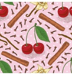 Seamless Pattern with Cherry and Spices vector image