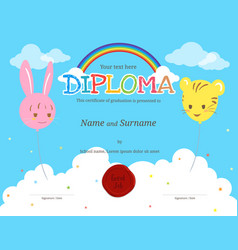 Colorful kids diploma certificate template vector