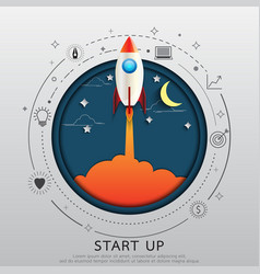 Start up concept flat line and paper art design vector