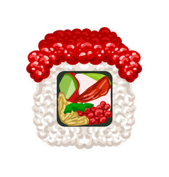 Sushi roll with red caviar colorful cartoon vector