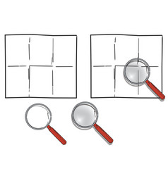 Magnifying glass and blank paper vector
