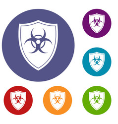 shield with a biohazard sign icons set vector image