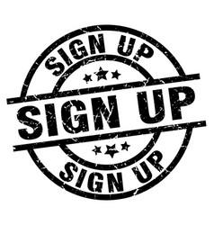 Sign up round grunge black stamp vector