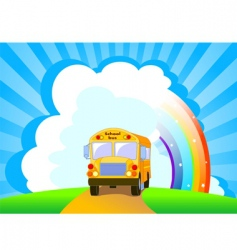 Yellow school bus background vector