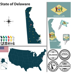 Map of delaware vector