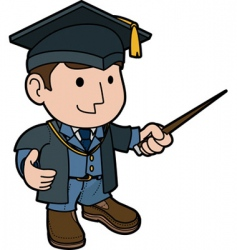 Professor in cap and gown vector