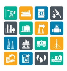 Silhouette petrol and oil industry icons vector