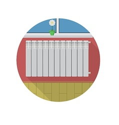 Flat icon for radiator in room vector