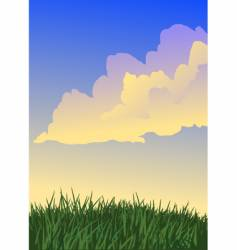 grass and yellow clouds vector image