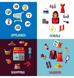 Set of flat colorful woman and appliance shopping vector image