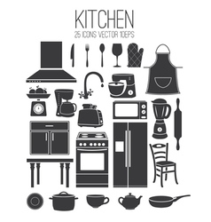 Set icon of kitchen vector