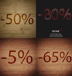 80 5 65 icon set of percent discount on abstract vector
