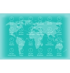 World map with time zones infographics background vector