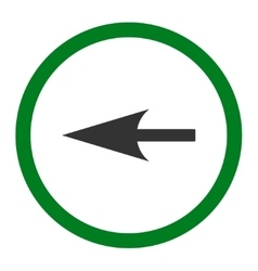 Sharp left arrow flat green and gray colors vector