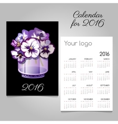 Calendar with bunch of flowers in a vase vector