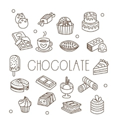Chocolate and sweets in handdrawn style vector