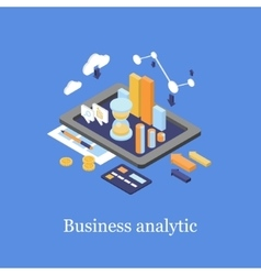 Business concept 3d isometric infographic data vector