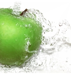 Green apple with water splash gradient vector