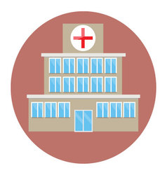 Hospital building icon flat vector