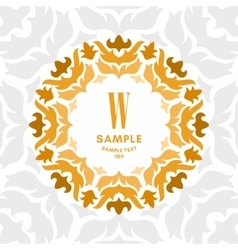 Floral luxurious logo monogram golden on white vector