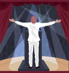Artist standing on stage with raised open arms vector