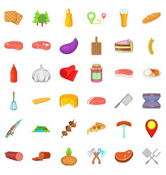 Barbecue rest icons set cartoon style vector